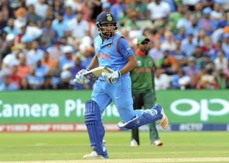 India's Rohit Sharma runs between the wickets.