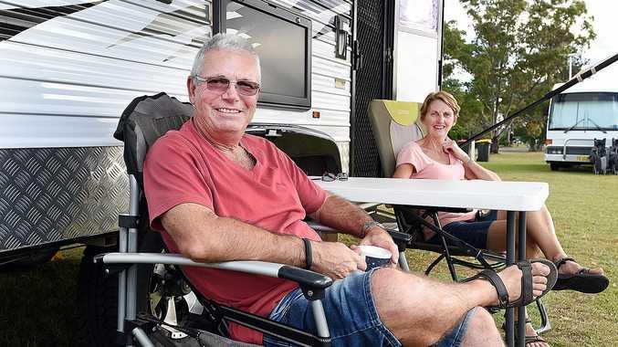 SPENDING LOCALLY: John and Sandra Bewell from Harrington at the Doon Villa Football Club RV parking area in Maryborough.