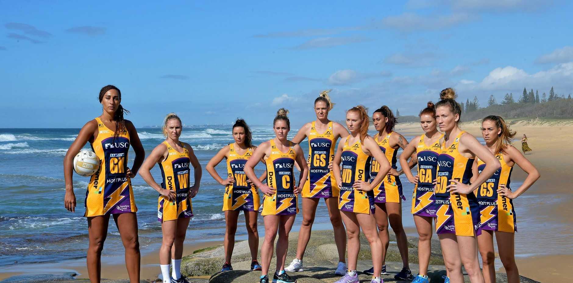 GOOD LUCK! Sunshine Coast Lightning netball team ready for the finals.