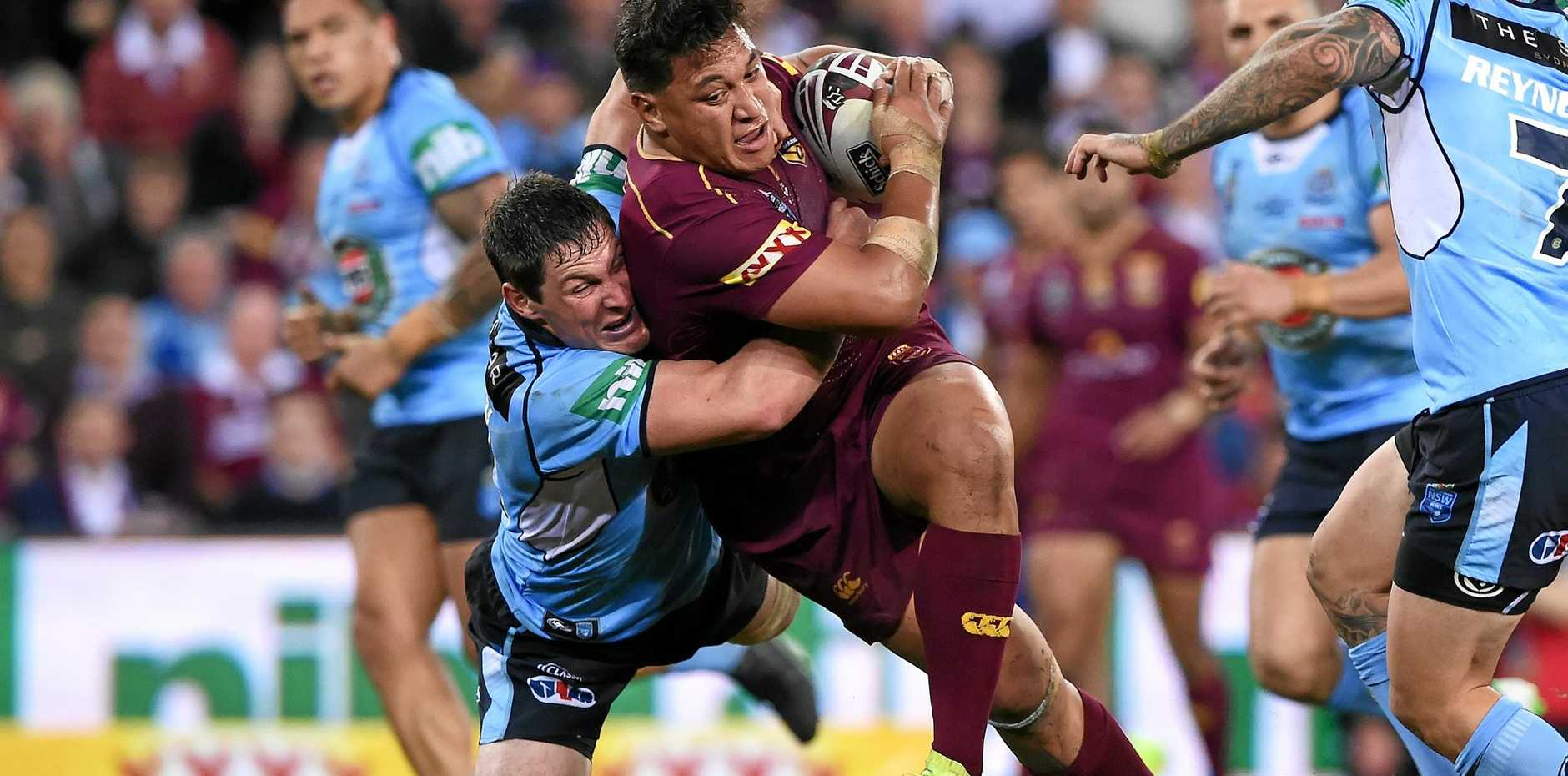 Maroons player Josh Papalii during the State of Origin II at Suncorp Stadium in Brisbane.