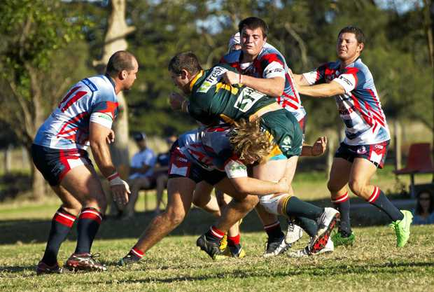 TOUGHING IT OUT: Kyogle players aim up in defence in Northern Rivers Regional Rugby League. The Turkeys will travel to Mullumbimby to tackle the Giants tonight.