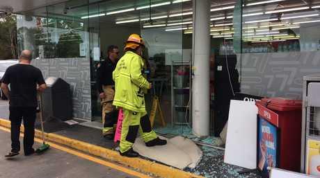 A silver Honda hatchback crashed into the front of the Super 7 service station at Diddillibah.