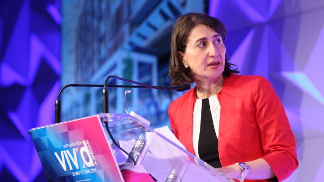 NSW Premier Gladys Berejiklian takes a look at one of the artists impressions of a light installation at the official launch of Vivid Sydney's 2017 program at the Museum of Contemporary Art.