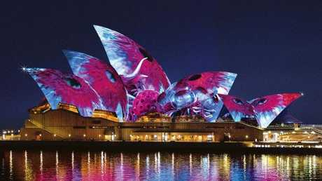 An visual of 2017's Sydney Opera House light show by designer Ash Bolland.