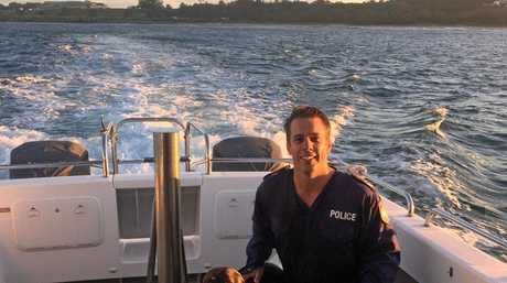 AQUA DOG: Seagull loving Bruno, the German pointer, had to be rescued in the harbour by Senior Constable Josh Shaw after he chased a flock of birds into the water.