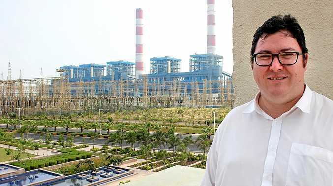CLEAN COAL: Federal Member for Dawson George Christensen at Adani's ultra-super-critical coal-fired power generator at the Port of Mundra in India.