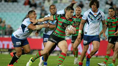 Bryson Goodwin of the Rabbitohs on his way to the try line.