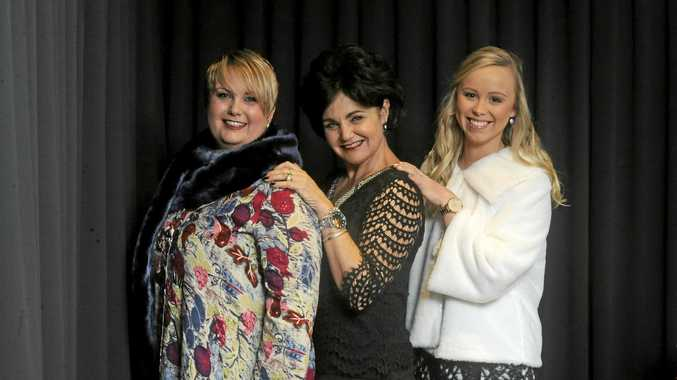 Kylie Peterie, wearing Heart and Space, Vicki Gulaptis, wearing Clovellys Fasion and Kristie Lawrence wearing  Ta'Chele's at the Maclean Cup Fashion Parade and High Tea at the Maclean Bowling Club on Saturday, June 17.