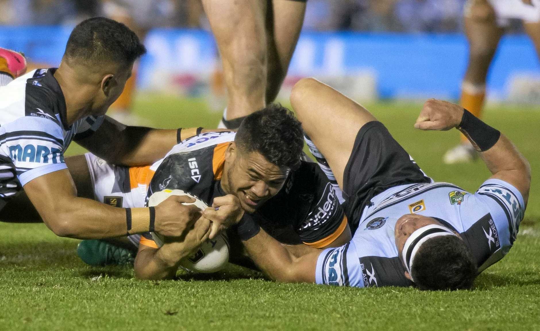 Esan Marsters of the Tigers scores a try.