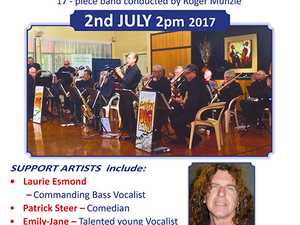 Variety Concert starring The Hinterland Big Band, Bass vocalist Laurie Esmond, Comedian Patrick Steer, and the Tweed Links Quartet with Compere Bob Green.