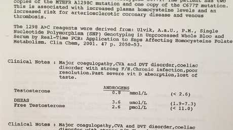 A pathology document showing some of Kathleen's test results.Source:Supplied