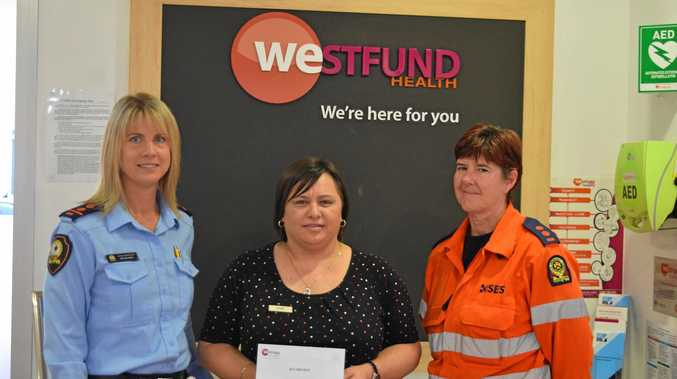Local Controller Mackay SES Selina Neill, Westfund Regional Manager Elsie Van Staden and SES Group Leader for Mackay, Joann Clout with the $10,000 donation.