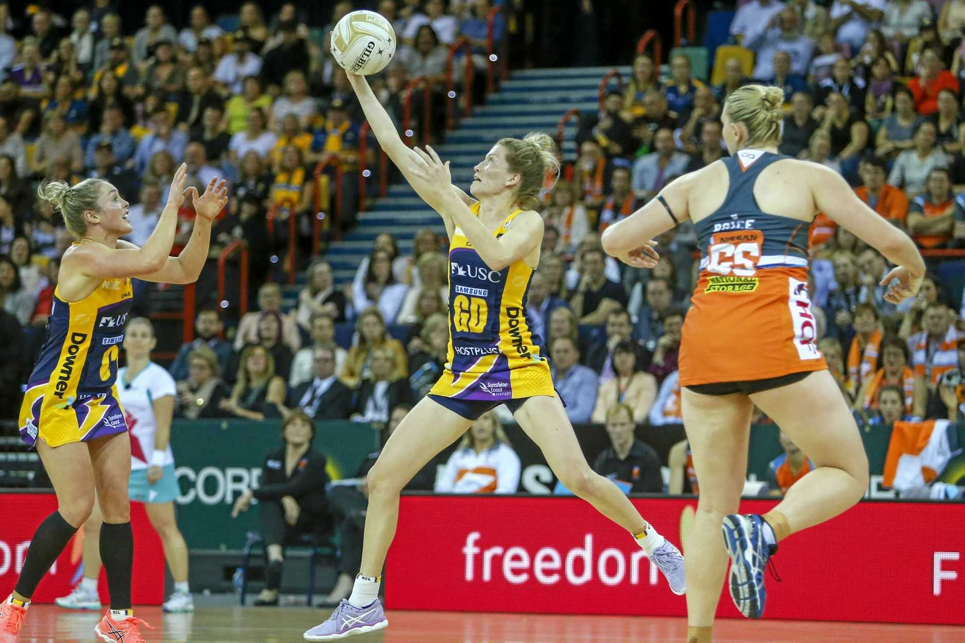 MOST VALUABLE PLAYER: Karla Mostert of the Lightning in action during the Suncorp Super Netball Grand Final between the Sunshine Coast Lightning and the Giants Netball.