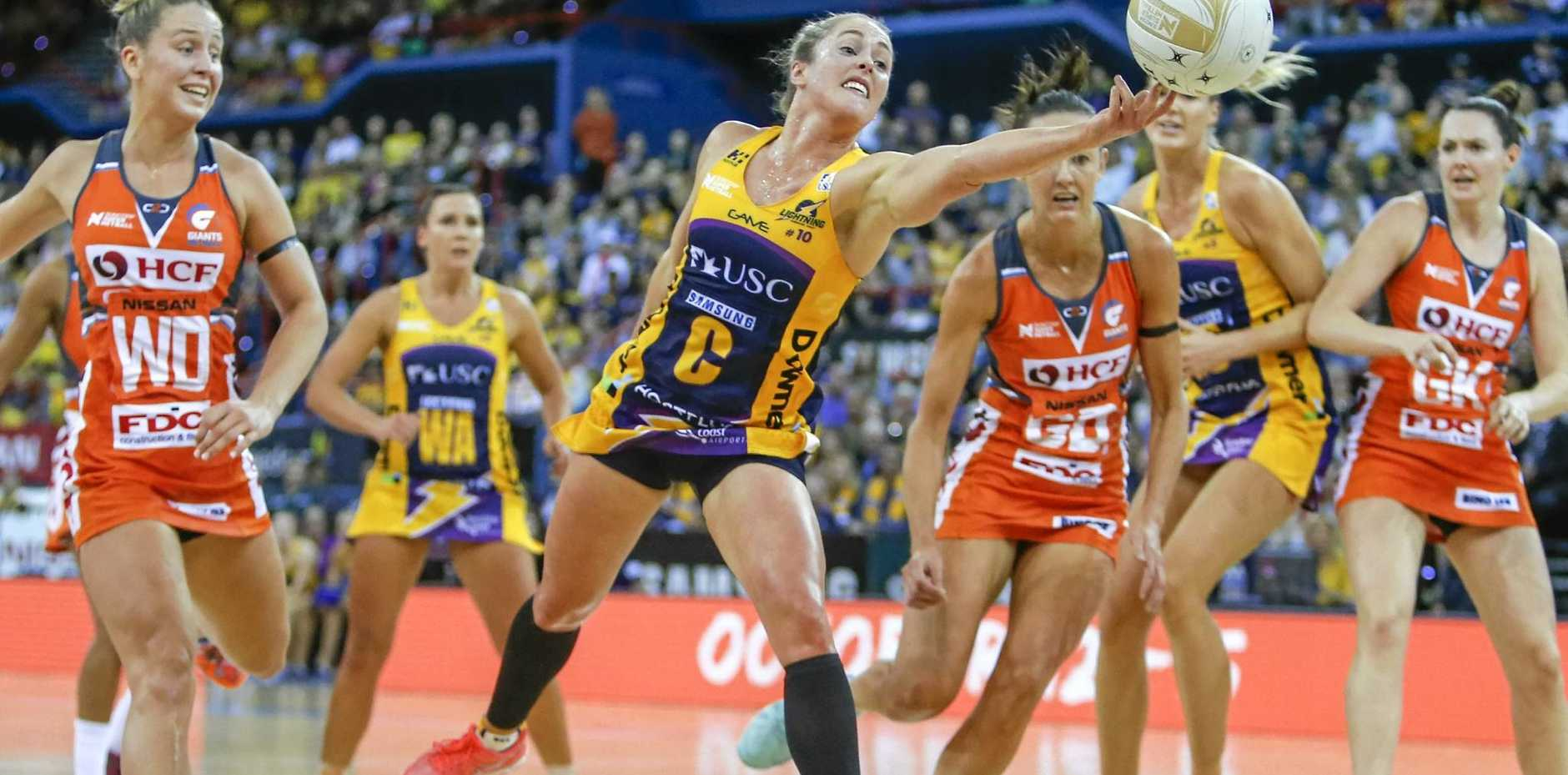 GREAT CATCH: Laura Scherian of the Lightning reaches for the ball during the Suncorp Super Netball Grand Final.