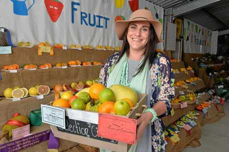 Michelle Camilleri with her winning collection of citrus. Michelle won Champion fruit exhibit at the Pioneer Valley Show.