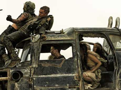 Tom Hardy and Charlize Theron in a scene from film Mad Max: Fury Road.