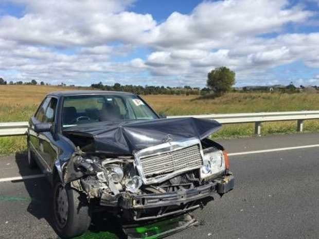 A crash on the Warrego Highway at Haigslea.