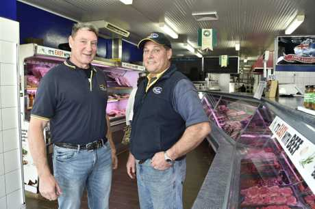 Butchers Lou Gordon and Wayne Roatz from Queensland Choice Meats, Taylor Street. The butcher shop is on the market. June 2017