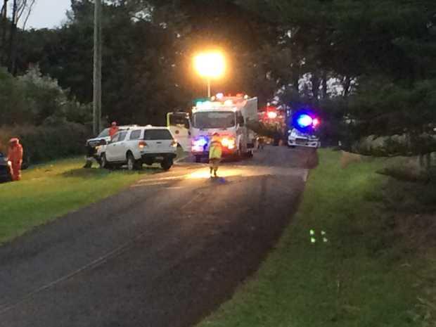 The scene of a car crash on Ellis Road near Alstonville.