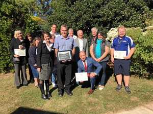 Bracken Ridge State School inducts Mark Banks into their Hall of Fame. He is pictured centre with Very Important People in the school's community.
