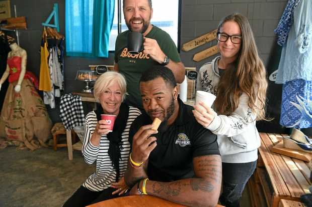 Jo Rogers, Will Shackleford, Mark Hennessy and Samantha Russell at the Angels Delight Soup and Coffee Bar.