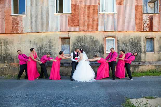 FUN DAY: The couple had 70 guests attend to enjoy the wedding and ceremony at the Shamrock Hotel.