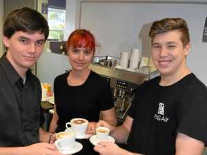 Trainees learn the art of making a good coffee