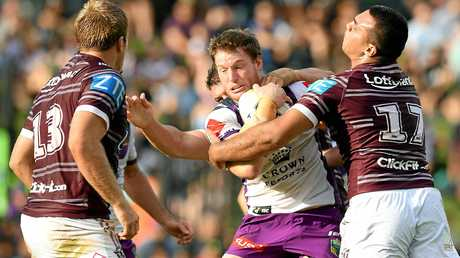Tim Glasby on the charge for the Melbourne Storm earlier this year.