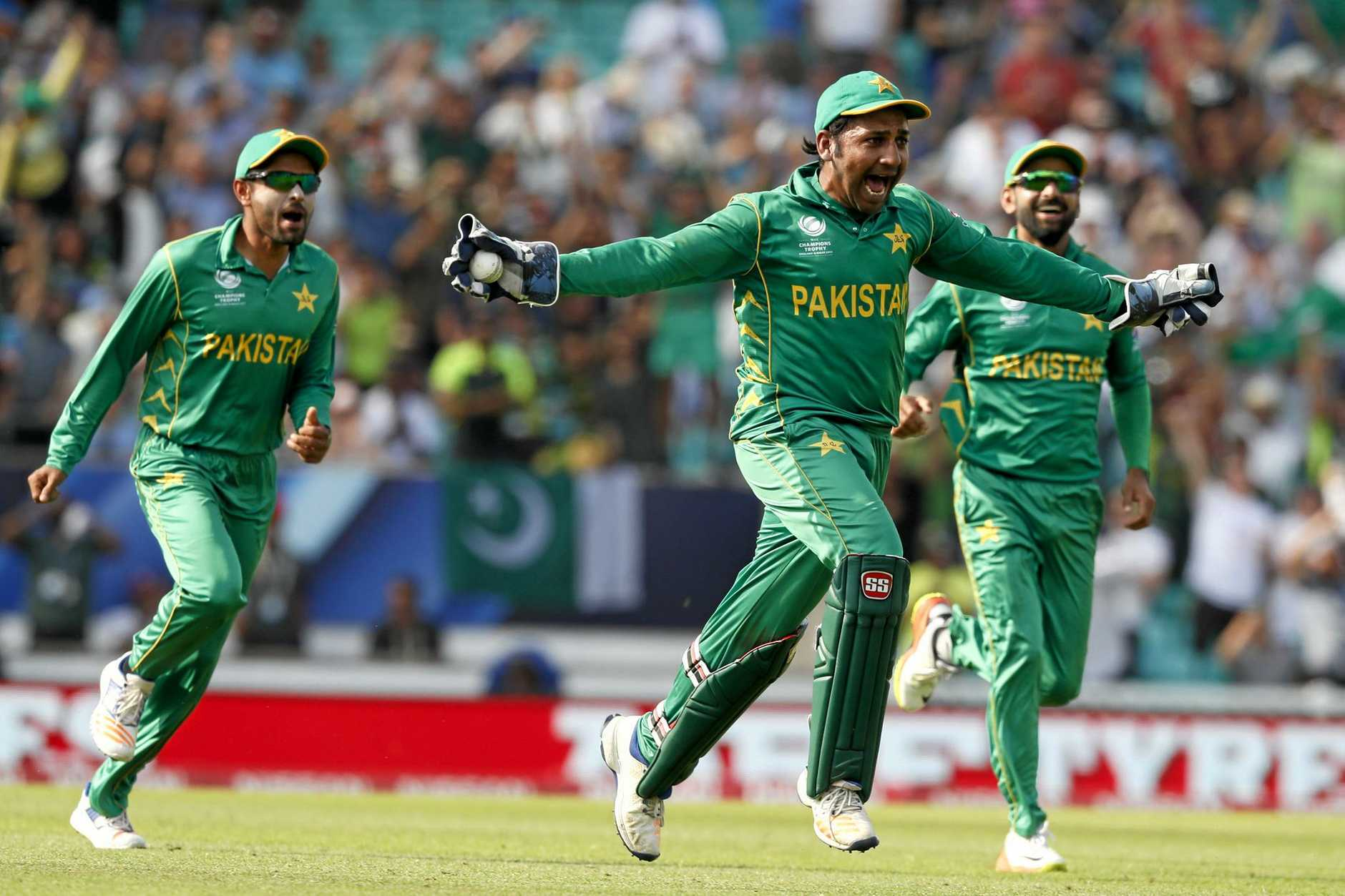 Pakistan captain Sarfraz Ahmed celebrates after claiming the catch to dismiss the last of the Indian batsmen in the ICC Champions Trophy final at The Oval in London.