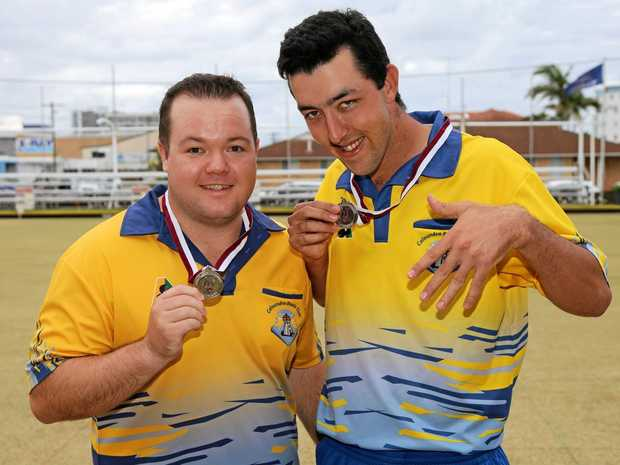 COMPETITIVE: Joel Andersen and Wade Mutzelburg from Caloundra Bowls Club, at a previous event.