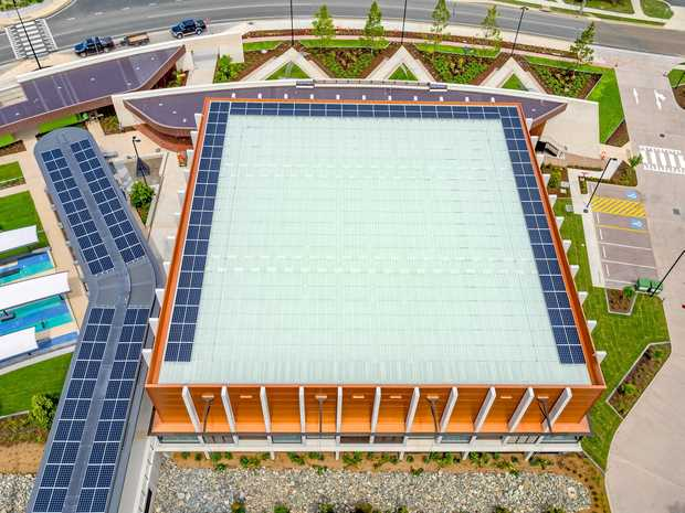 Aerial view of the Gympie Aquatic Recreation Centre (ARC) with solar panels visible from the roofs.