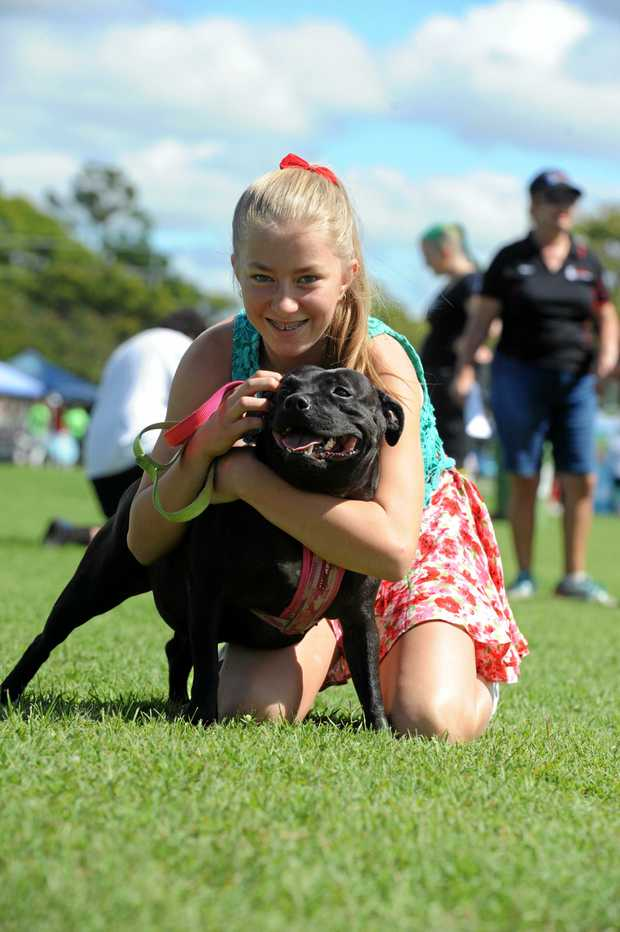 FAMILY FUN: Jade Whalley and Dora at the Red Collar Rescue Family Fun Day on Saturday, 2 May 2015.
