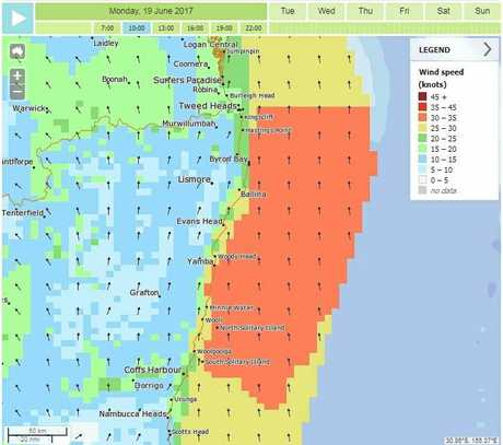 An image of the Bureau of Meteorology Met Eye wind forecast map for 10am Monday June 19.