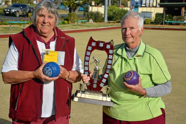 SINGLES: Runner-up Margaret Wright (Warwick East) and winner Gaye Wilmot (The Summit) after the final of the Southern Downs Ladies District Bowls Association.