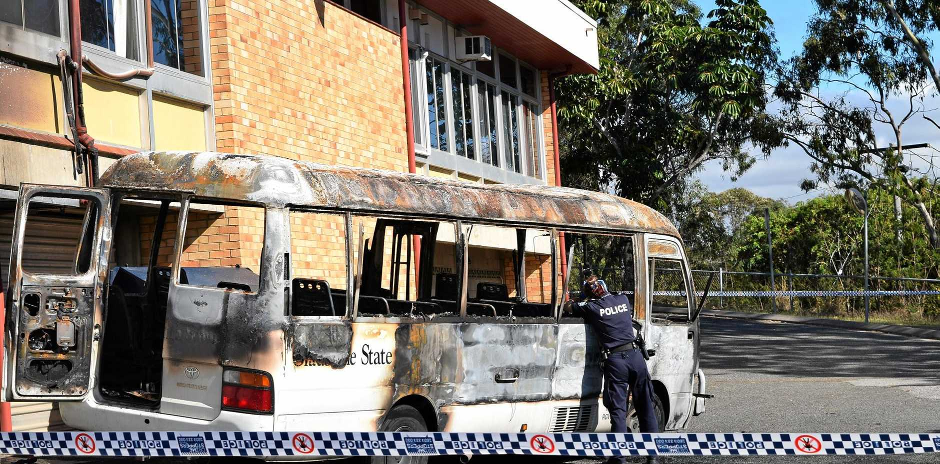 A teenage male has been charged in relation to a bus set on fire Thursday night at Gladstone State High School.