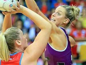 DEFENSIVE DUTY: Allora's Laura Geitz in defence for the Queensland Firebirds last year.