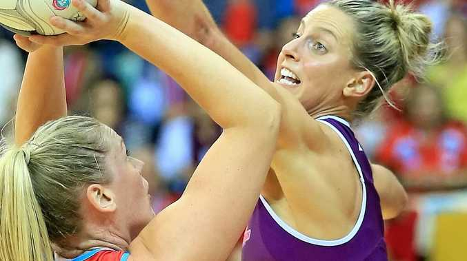 DEFENSIVE DUTY: Allora's Laura Geitz in defence for the Queensland Firebirds last year.
