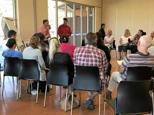 NO CARD: Member for Maryborough Bruce Saunders addresses a previous gathering of people who attended a meeting to discuss the potential introduction of the cashless welfare card.