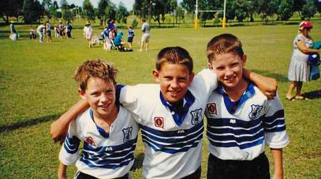 The Glasby brothers - Tim, Will and Ben - during their junior days with Norths Knights.