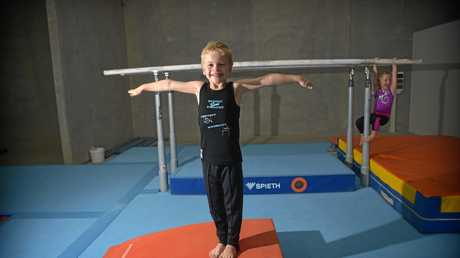 Maroochy Beach Gymnastics Club members Lincon Finch ,7 and his sister Lyla, 5, make the most of the club's new Kunda Park home.
