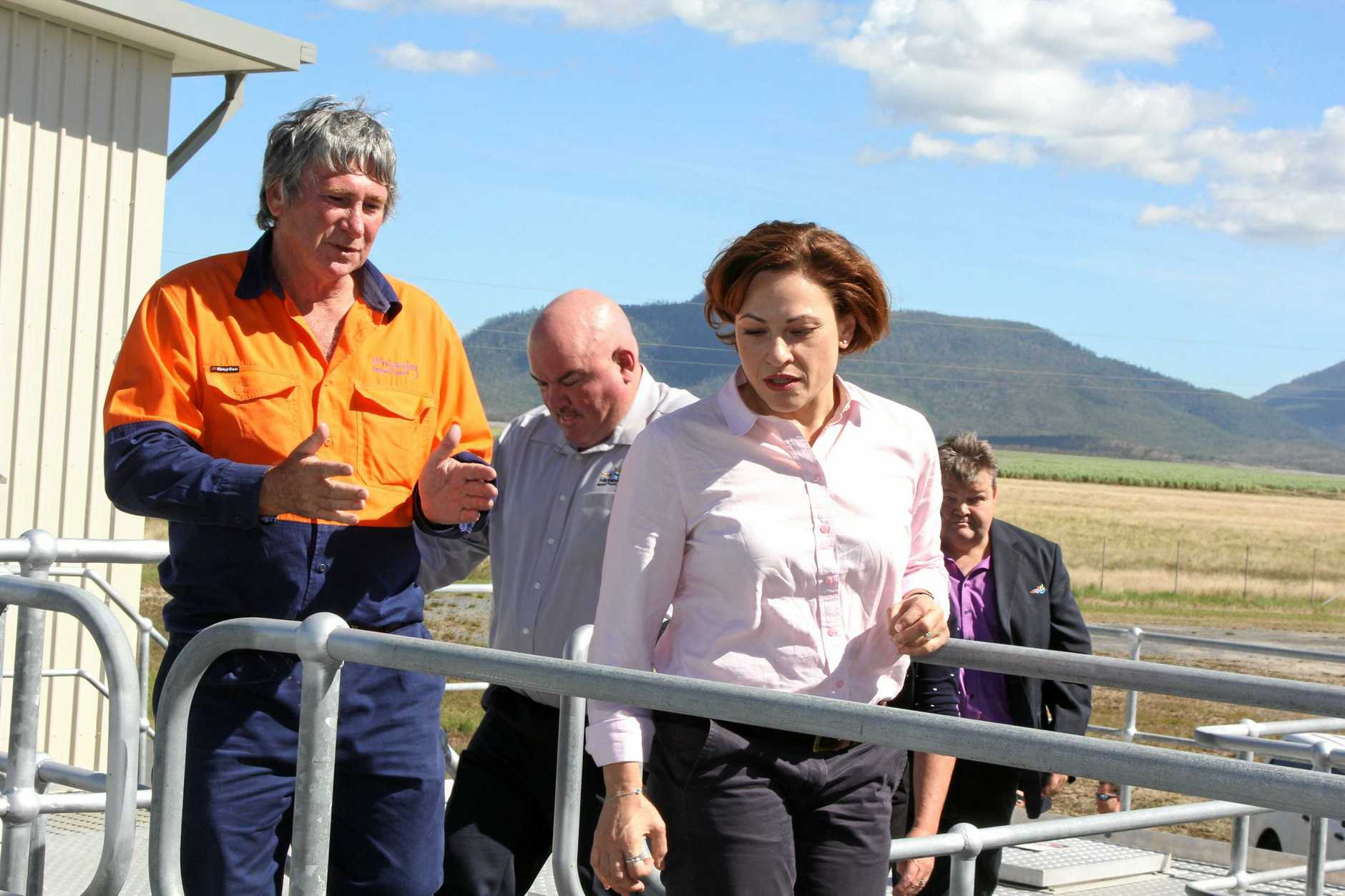 Acting Premier Jackie Trad tours the Bowen water treatment facility in Up River near Proserpine.
