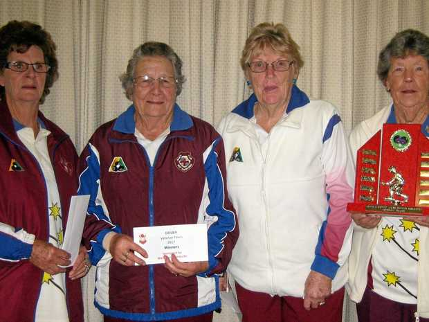 FAB FOUR: The winners of the Darling Downs Ladies Bowls Association Veteran Fours are (from left) Rose Rollinson, Daph Fallon, Joy Gaskell and Pauline Handley.
