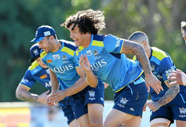 Kevin Proctor sets the pace during a Gold Coast Titans training session.