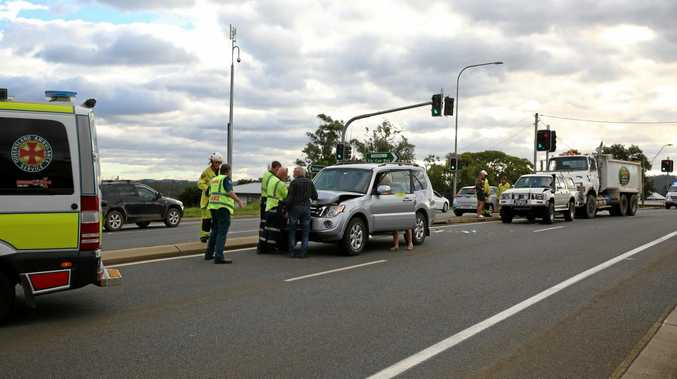 A four vehicle accident has slowed traffic on the Bruce Hwy through Gympie, with police on the scene.