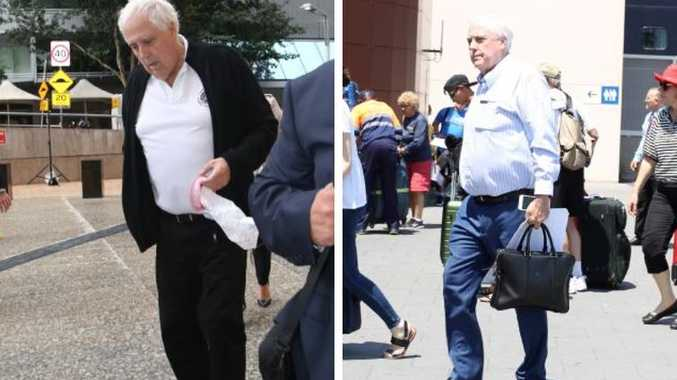 "A very different and ""sick"" Clive Palmer outside Federal Court last month, left, and right, A seemingly rejuvenated Clive Palmer about to board his cruise"