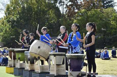 Toowoomba Taiko drumming group perform at Mater Dei Primary School . June 2017