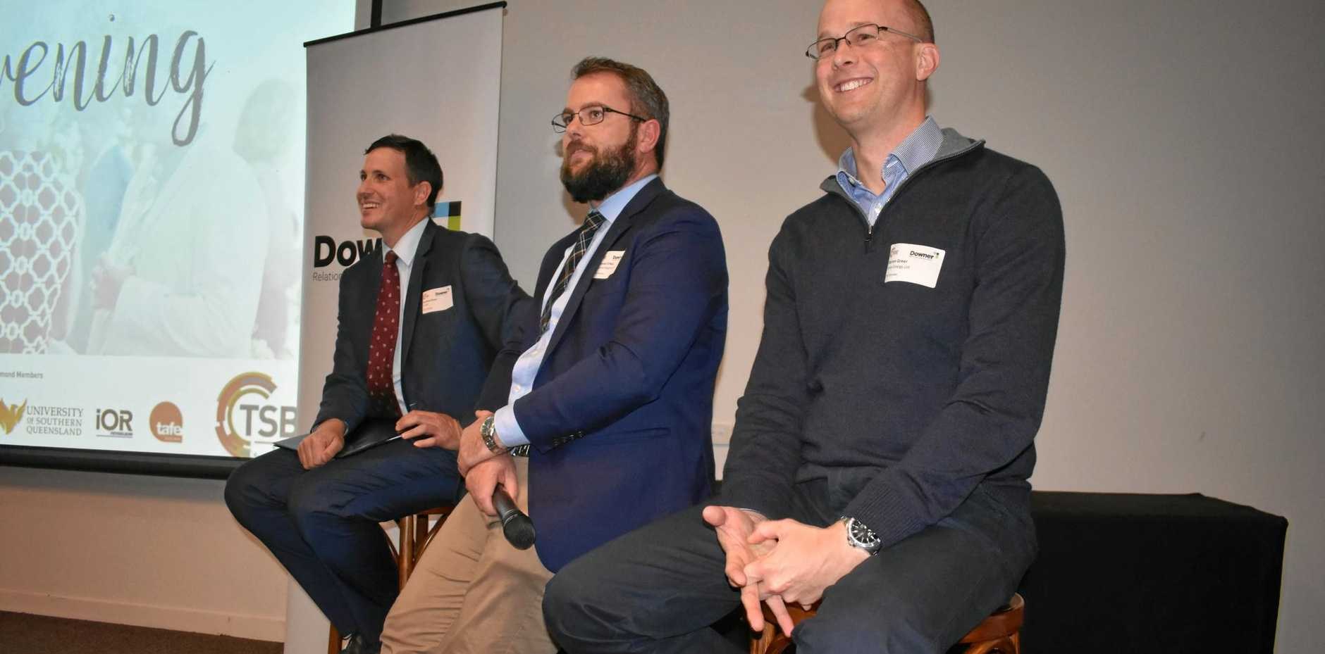REGIONAL UPDATE: Santos regional manager Andrew Snars, Councillor Cameron O'Neil and Senex operations officer Darren Greer answer questions at the Roma Enterprise Evening on behalf of the Surat basin Enterprise (TSBE).