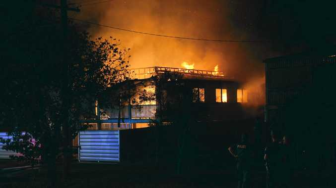 HOUSE FIRE: Emergency services attended a blaze that gutted a house in Maryborough St Bundaberg.Photo: Paul Donaldson / NewsMail
