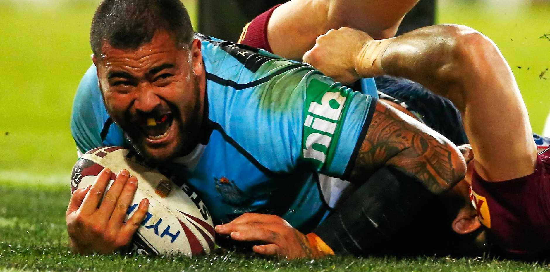 Blues big man Andrew Fifita scores a try during game one of the State Of Origin series.