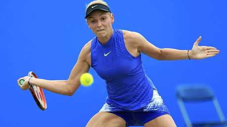 Croatia's Donna Vekic reaches for a forehand in the final of the Nottingham Open.